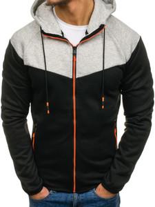 Luogen Brand New Fashion Sportswear Hoodies Männer Reißverschluss Kordelzug Kontrast Farbe Anzug beiläufige Sweatshirts Man Street