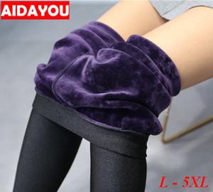 Com forro de lã Leggings para Mulheres Winter Stretchy Pants Calças térmicas Plus Size 5XL algodão quente ouc1707 Y200328