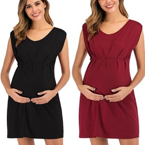 Women Pregnancy Dress Solid Short Sleeve Maternity Skirt Mother Summer Pregnant Nursing Dress