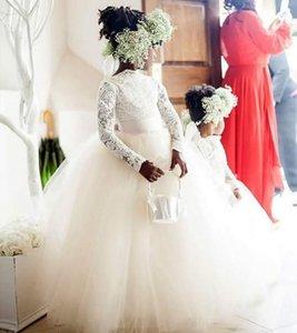 New Long Sleeve Flower Girl Dress Lace Tulle Bateau Neck Floor Length Ball Gown Girls Wedding Party Dresses Custom Size