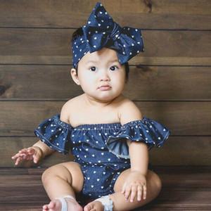 Nouveau-né Bébé Filles Body D'été Été Vêtements Pour Bébés Infantile D'épaule Tout-petit Denim Combinaison Coeur Forme Imprimer Tenue Bébé Vêtements