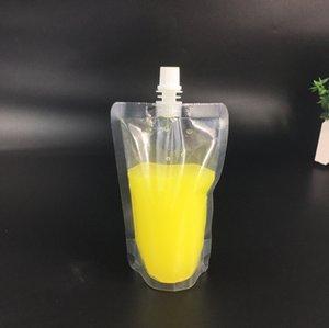 Прозрачные Самостоятельно герметичных мешки пластиковых напитков сумка Drink Упаковка сумки с крышкой Milk кофе Контейнер питьевого фруктового сока мешок GGA2384