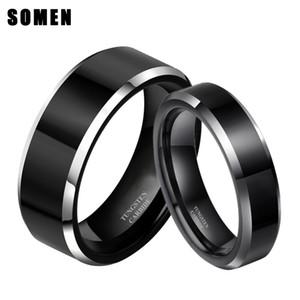 2 unids 8 mm 6 mm mujeres hombres negro anillo de carburo de tungsteno Promo matrimonio matrimonio parejas anillos moda joyería de la alianza J190716