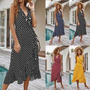 Womens Sleeveless Polka Dot Boho Maxi Dress Summer Beach Ruffle Split Party Fashion 4 colors V-neck dress slim waist skirt