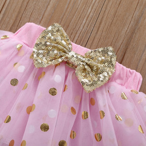 Baby Girls Outfits Golden Birlit Girl Romper Точка Юбки Рукава ногой 4 шт. Набор Короткие рукава Дети Одежда Одежда Летняя Детская Одежда Wzw-YW2995