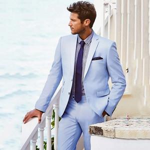 Light Blue Suit Men Casual Beach Wedding Suits For Men Custom Groom Best Man Ternos 2 Pieces Men Suits With Pants Prom Suits