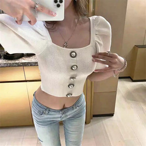 Sexy Crop Top Sweater Women 2020 Runway Designer Shirt Square Collar Puff Sleeve Short Pullover Short White Knitted Knitwear