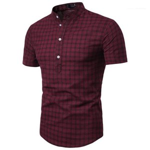 Kol Casual Erkek Düğme Yaz Polos Gömlek Erkek Tasarımcı Polos Moda Ekose Kısa Tops