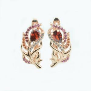 Fj 2 Colore Donna Bellezza misto colorato orecchino di pietra 585 oro rosa Colore foglia stile Rosso / blu orecchini zircone cubico per party C19041101