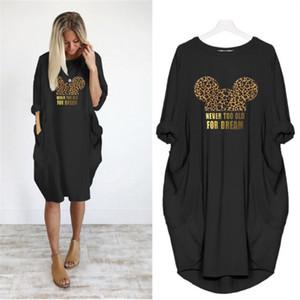 Stampa donne vestono tasca allentata abiti d'epoca caduta Maxi partito vestiti casual Abiti donna Plus Size Leopard Dress Y200101