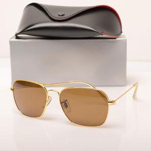 Moda 3136 Marka Tasarımcısı güneş gözlükleri retro vintage mens marka tasarımcı parlak altın çerçeve lazer logosu ile en kaliteli ...