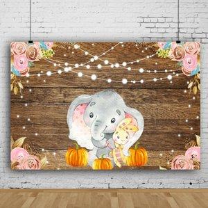 Sonho 7x5ft Madeira Elephant Fotografia abóbora Pano de fundo-de-rosa Flores Bandeira Decor Vinyl de madeira fundo da foto por crianças tiro do estúdio