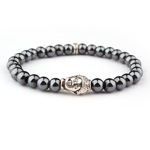 Натуральный камень гематит браслеты для женщин мужчины подвески браслеты лаконичный лаки гематит золотой серебристый эластичный браслет головы будды
