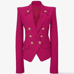 Europe and the United States autumn and winter new high quality metal lion head buckle double-breasted rose red blazer