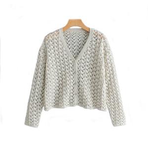 ZXQJ de punto de las mujeres de gran tamaño de la chaqueta de punto 2019 señoras de la manera elegante Botón de suéteres de lana niñas hueco géneros de punto