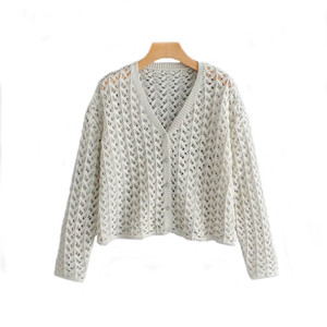 ZXQJ malha Mulheres Oversize suéter 2019 Ladies moda elegante BOTÃO de lã Camisolas Meninas oco Knitwear