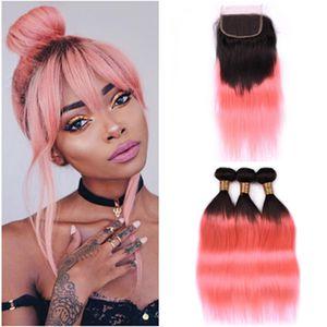 # 1B / Rose Gold Ombre 스트레이트 인간의 머리카락 3Bundles 및 클로저 4 개 로트 Ombre 핑크 브라질 인간의 머리카락 Wefts 4x4 레이스 클로저와 함께