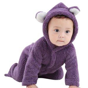 الخريف ملابس اطفال الفانيلا طفل رضيع الملابس الكرتون الحيوان 3D الدب الأذن رومبير بذلة دافئ وليد رومبير الربيع