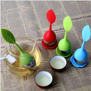 Infusor de té de silicio Mango de hoja Colador de acero inoxidable Infusor Filtro de especias a base de hierbas Herramientas de cocina Coladores de té de acero inoxidable creativos