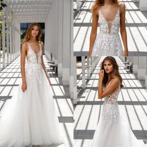2020 apliques vestido de la playa de Boho del cuello en V profundo boda Mira Zwillinger de encaje de novia vestidos sin espalda al aire libre vestidos de boda Vestidos de novia