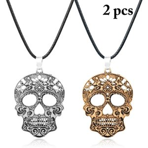 2pcs Skull Necklace Skull Pendant Zinc Alloy Necklaces Pendants Black Leather Chain Pendant Necklace for Halloween Gift
