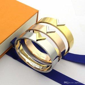 Europe America Simple Style Lady Women Titanium steel 18K Gold Engraved V Letter Bangle Bracelets 3 Color