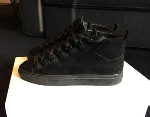 Italy Top Luxury Designer Hot Arena Casual Shoes Men Lacing Leather Arena Suede High-Top Trainers Men Sneakers High  Low Cut Black Blue Grey