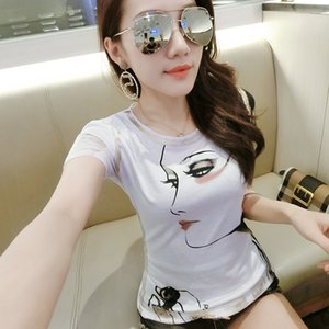 2020 Fashion Print Portrait Tshirt 2019 New Spring Summer O-Neck High Street Women Short Sleeve T Shirts Tops Outside T93508