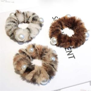 Outono e inverno de pelúcia de leopardo cabelo corda retro cabeça pérola corda menina faixa de cabelo de borracha de moda