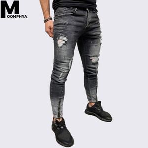 Moomphya 2019 Nouveau jeans skinny trous Distressed hommes Streetwear hip hop déchiré jeans pour les hommes motard noir