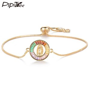 Pipitree Vierge Marie Charm Bracelet Femme Cercle ronde religieuse Multicolor Zircon Bracelets pour femmes Bijoux chaîne