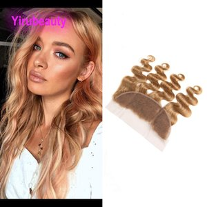 Brazilian Virgin Hair 27# Body Wave 13X4X Lace Frontal Free Part 100% Human Hair 13 By 4 Lace Frontal Pre Plucked 27# Color