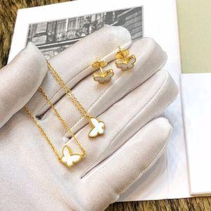 Marca 925 Sterling Silver Jewelry For Women Mãe de borboleta Pérola Jóias Wedding Set mini-anel colar brincos pulseira