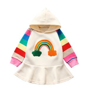 Atacado Designer manga comprida Hoodies para meninas Tops Hoodie adolescente da camisola dos miúdos jaqueta com capuz Arco-íris dos retalhos da luva roupas de criança