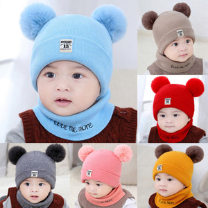 2018 Brand New Newborn Infant Baby Girls Boy Autumn Hat Scarf 2PCS Ball Knit Solid Warm Furry Ball Beanie Hats+Letter Scarf Gift