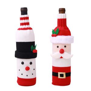 Noel Şarap Şişesi Kapağı Noel Baba Kardan Adam Örme Şarap Şişesi Triko Noel Yemeği Partisi Masa Süslemeleri JK1910