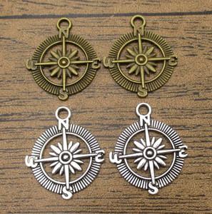 Alloy Metal Compass Charms 25PCS Lot 28*24mm Key Ring Pendants DIY Supplies Charm Bracelets 2 Colors Available-WY1067