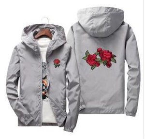 Rose Jacket Windbreaker Men And Women's Jacket New Fashion White And Black Roses Outwear Coat Parent child outdoor windbreaker 6XL 7XL