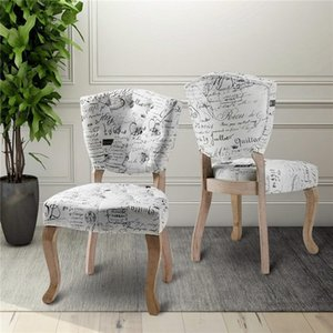 Velvet Tissu capitonné Chaise à dîner Chaise rembourrée Accent avec pieds en bois Salle à manger élégante salle Meubles Beige Tissu avec motif Script