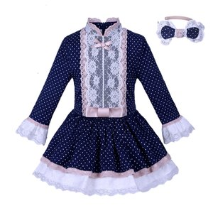 Pre-Sale Navy Dots девушки платье с кружевом Детские платья для девочек бутик детской одежды осень T191018
