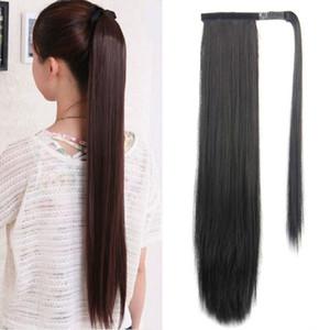 Rebauty Saç 24 inç Uzun Düz Klip Saç At Kuyruğu Uzatma Wrap Etrafında Sentetik At Kuyruğu Klipsi Saç Uzantıları Doğal At Kumaş
