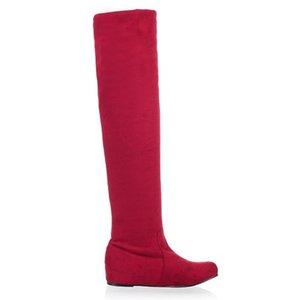 La venta caliente-karinluna grande del tamaño 34-47 de las mujeres de la manera sobre la rodilla patea cuñas escondidas zapatos de vestir casuales de punta redonda Plataforma Knight Boots