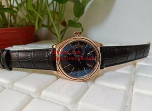Hot comprar Mens Relógios mm 50515 50519 18k Rose Gold Black Dial Asia 2813 Bandas de couro movimento automático dom 39 Correia Relógios de Natal