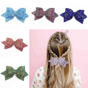 Barrettes Baby Big Glitter glänzende Sequin-Bogen-Stirnband-Haar-Clips Kinderhaarspangen für Kinder Haarschmuck