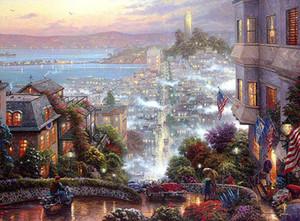 Thomas Kinkade San Francisco Lombard Street Home Decor dipinto a mano HD Stampa della pittura a olio su tela di canapa di arte della parete della tela di canapa Immagini 200130