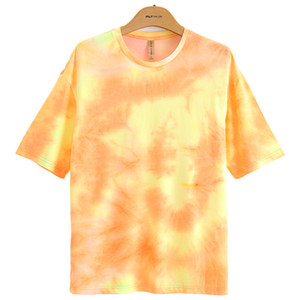Мужские Fluorescent Tie Dye Tshirt Хип-хоп стиль с коротким рукавом Экипаж шеи Сыпучие тройники Мужской Повседневный Одежда