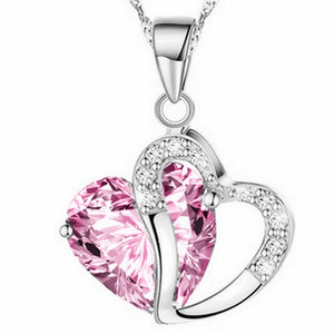 """Women Fashion Heart Crystal Rhinestone Silver Chain Pendant Necklace Jewelry 10 Color Length 17.7"""" inch LR013 Party Gift Friendship"""