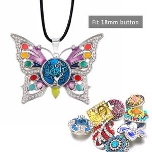 Мода Горячие продажи Сменная Кристалл Бабочка Имбирь ожерелье 120 Fit 18mm Snap кнопки Подвеска Шарм ювелирные изделия для женщин Подарок