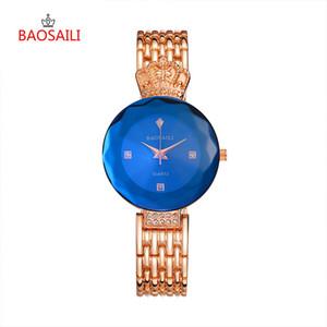 de Crown Mulheres BAOSAILI relógios de luxo Rose bracelete de ouro relógio mulheres vestido de senhoras quartzo Relógios de pulso Girl Clock presentes fêmeas 45 LY191226