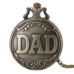 Vintage DAD Pocket Watch Pendant Necklace Bronze Casual Men Fob Watches Quartz Analog Clock Best Gift Box for Father's Day